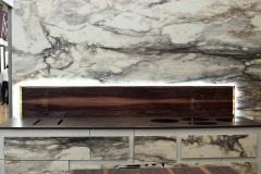 Фасады кухонного стола из стекла под натуральный мрамор арт. 218 Мрамор элит в глянцевой и матовой поверхностях